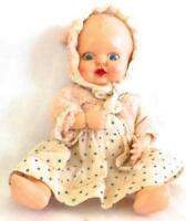 Rosebud Doll Hard Plastic Original Wicker Case Bedding England 1950s Vintage
