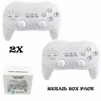 2X BOXED WHITE CLASSIC CONTROLLER PRO JOYPAD GAMEPAD FOR NINTENDO WII CONSOLE