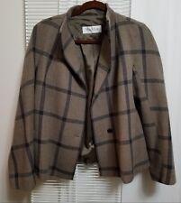 Max Mara Brown Black Plaid Boxy One Button Jacket Wool Cashmere Sz 12 Italy