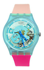 Swatch GL118 Varigotti Blue Skeleton Dial Pink Silicone Band Watch New