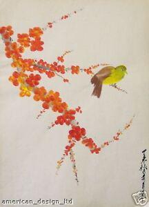 Yoshizuki, Signed Original Gouache Painting On Paper bird and flowers Asian