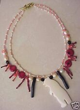 Angel Skin Coral, Pearl, with Bone Bear Necklace