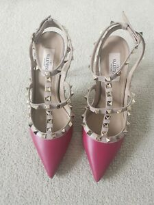 Valentino Garavani Raspberry Rockstud Womens Shoes EU38/UK5
