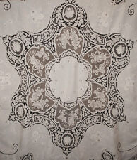 "ANTIQUE LACE LINEN TABLECLOTH ITALIAN FILET MILANESE APPENZEL FIGURAL 93"" ROUND"