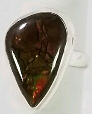 Ladies Handmade Ammolite 925 Sterling Silver Ring Size 6.75