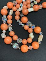 Freshwater Pearl Crystal Aurora Borealis Beaded 2 Strand Coral Necklace 18""