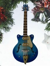 "HOLLOW BODY ELECTRIC GUITAR 5"" BLUE SUNBURST MUSICAL INSTRUMENT XMAS ORNAMENT"