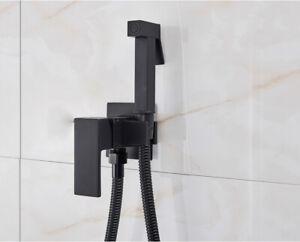 "Bidet Tap Vessel Black Mixer 59"" Hose Pull Down Shower Toilet Bathroom 1 Handle"