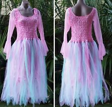 Women's Fairy Dress with Sleeves & Wings--PINK, AQUA &  LILAC PETAL SKIRT
