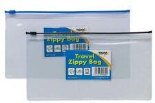 2 x DL Size Travel Zippy Bag - Clear Plastic File Storage Document Wallet