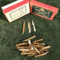 antique dip pen nibs box E.S. PERRY Iridinoid incorrodible pens with content