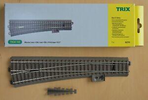 "TRIX 62711 HO/OO ""C"" track Left Hand Point 236.1mm long x Radius 9 (1114.6mm)."