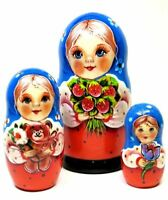 """Little Mila 3 Piece Russian Wooden Stacking 4"""" Nesting Doll Set"""