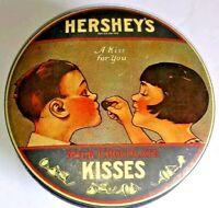 Hersheys Milk Chocolate Kisses Round Tin Made In England 1982