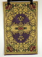 """Vintage Purple & Gold Tapestry Made In France 16"""" X 25.5"""""""