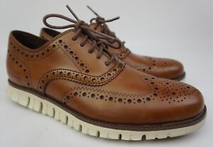 Cole Haan ZeroGrand Wingtip Oxford Men's British Tan Brown Shoes Size 7.5 M