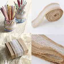 2M DIY Vintage Natural Jute Burlap Hessian Ribbon lace Trim Table Wedding Decor
