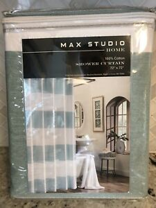 Max Studio 100% Cotton Fabric Shower Curtain White & Teal Wide Stripes Nautical