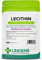 Lecithin 1200mg 90 Capsules Healthy Liver, Metabolism of Fats Choline Lindens UK
