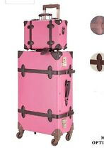 "Vintage Style Luggage Set 24"" Trolley Suitcase and 12"" Hand Bag Set TSA Locks"