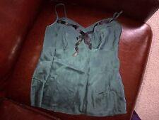 Monsoon dark green silk top vest UK size 8