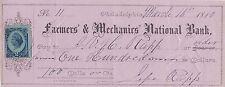1880 internal revenue stamp USA on Farmers & Mechanics National Bank cheque