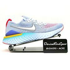 New listing Nike Girls Metallic Silver Epic React Flyknit 2 (Gs) Sneaker Shoes Size 6.5Y