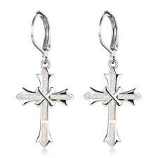1 Pair Woman 925 Silver Jewelry Cross White Fire Opal Charm Earring Pendant ~~!