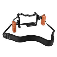 CAMVATE Panasonic GH5 Cage Kit left & right Wooden Handgrip Shoulder Neck Strap
