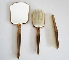 Vintage gold toned 3 pc vanity set Hand mirror comb brush brass Matching