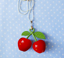 CHERRIES PENDANT NECKLACE ROCKABILLY RED CHERRY LARGE CHERRIES