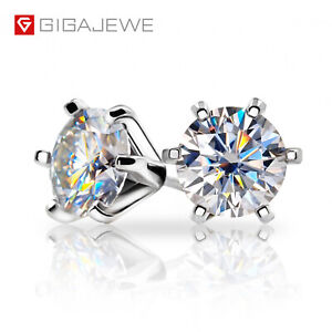 925 Sterling Silver Earring Round Cut 2.0ct DEF White Moissanite Silver Earrings