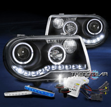FOR 2005-2010 CHRYSLER 300C HALO LED BLACK PROJECTOR HEADLIGHT+BLUE DRL+HID KIT