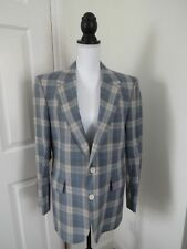 HUNTER HAIG BY PALM BEACH Mens 40 Blue Beige Plaid Lined Sport Coat Blazer MINT