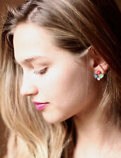 Kate Spade Gold BLUE RED CORAL EMERALD GREEN facets Cluster Earrings MICRO MULTI