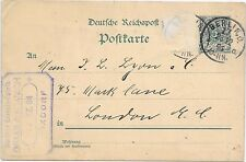 GERMANY REICH POST CARD 28/12/1891;BERLIN-LONDON; ONE STAMP REMOVED.