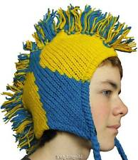 Beanie Mohawk Hat Hand Knitted Snow Ski Football 100% Wool Polyfleece Lined