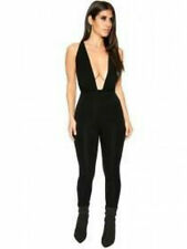 NAKED WARDROBE BLACK THICK STRETCH BODYSHAPING JUMPSUIT ROMPER CATSUIT-M,12-UK