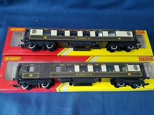 """2 X HORNBY RAILROAD PULLMAN COACHES,""""ANSONIA"""" & """"CAR 77"""" EXCELLENT  BOXED"""