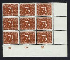 Ned Nw Guinea NVPH 7, 7 1/2 ct roodbruin, blok van 9 zegels, postfris