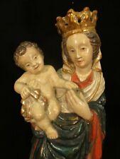 gotisch Madonna mit Jesuskind, holzgeschnitzt, 60 cm mit Blattgold farbig gefaßt