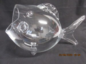 """SHANNON GODINGER CRYSTAL OF IRELAND  13"""" LONG GLASS WIDE MOUTH FISH, Ex!"""