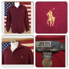EXC COND POLO RALPH LAUREN MENS LARGE BURGUNDY RARE GOLD PONY 1/4 ZIP SWEATER