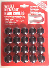New Wheel Nut Caps Bolt Covers Black 19mm Hex 20 Pieces Plus Removal Tool