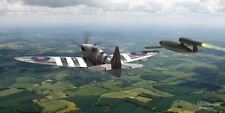 "WWII WW2 RAAF RAF Spitfire V-1 Doodlebug Aviation Art Photo Print - 24"" X 12"""