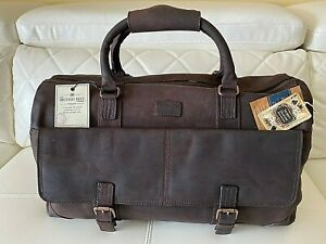 The British Belt Co. Leather Blue Label Weekender Duffel Bag Brown Vintage New