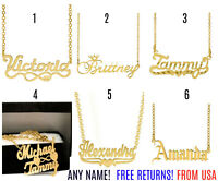 Free Chain Personalized FINE Sterling Silver 14K Gold ANY Name Plate Necklace