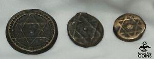 Lot of 3: 1847-1871 Morocco Falus, 2 Falus & 4 Falus Bronze Cast Coins Marrakesh