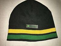 John Deere Tractors Knit Ski Stocking Hat/Beanie Black W/2 Stripes One Size-VGUC