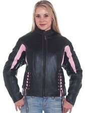 Women's Black & PInk Leather Racer Motorcycle Jacket with Z/O Lining